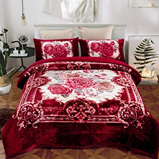 JML Sherpa Flannel Blanket, 3-Piece Fleece Blanket King with Pillow Shams- Soft, Warm, Korean Style Printed Embossed Bed Blanket, Burgundy