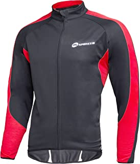sponeed Men's Windproof Jackets Cycling Fleece Coat Shirts Winter Thermal Bicycle Tops Bike Clothes