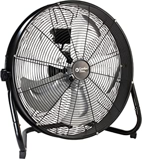 Comfort Zone CZHV20S High-Velocity Industrial 3-Speed Black Slim-Profile Drum Fan with Aluminum Blades and Adjustable Tilt – 20