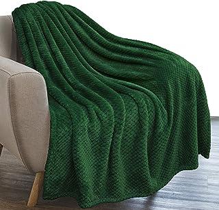 PAVILIA Waffle Textured Fleece Throw Blanket for Couch Sofa, Emerald Green | Soft Plush Velvet Flannel Blanket for Living ...