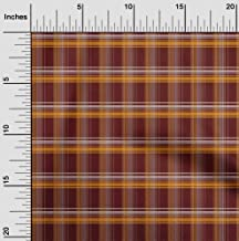 oneOone Cotton Poplin Fabric Madras Check Printed Fabric 1 Meter 42 Inch Wide