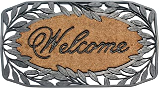 """A1HC Welcome Stylish Leaf Border Rubber and Coir Large Heavy-Duty Outdoor Doormat, 23""""X38"""", Black"""