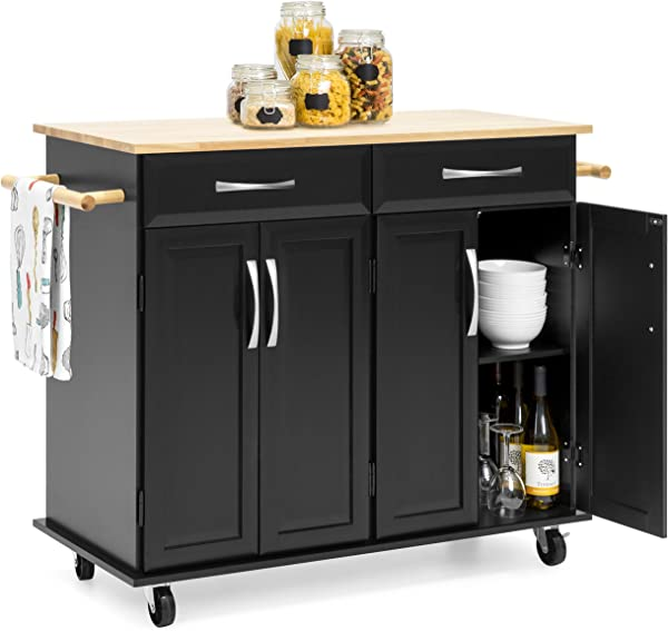 Best Choice Products Portable Kitchen Island Cart For Serving Storage D Cor W Wood Top 2 Towel Racks Drawers Cabinets Adjustable Shelves Black