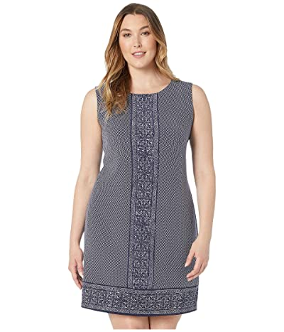 MICHAEL Michael Kors Plus Size Seaside Geo Border Dress (True Navy) Women