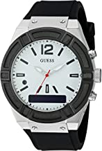GUESS Women's CONNECT Smartwatch with Amazon Alexa and Silicone Strap Buckle - iOS and Android Compatible - Silver