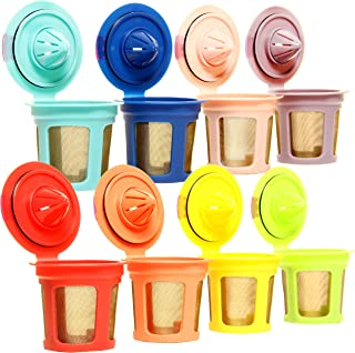 Youngever 8 Pack Reusable K Cups - Gold Plated Mesh Reusable Keurig Pods Filters for Keurig 2.0 & 1.0 Brewers Universal Fit, Eco Friendly Reusable Refillable Single Cup Coffee Pod, 8 Assorted Colors