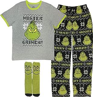 The Grinch Men's 3-Piece Pajama Gift Set (T-Shirt, Fleece Pants, Matching Socks!)
