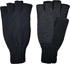Bruceriver Men's knitted Fingerless Ragg Gloves with Thinsulate Lining