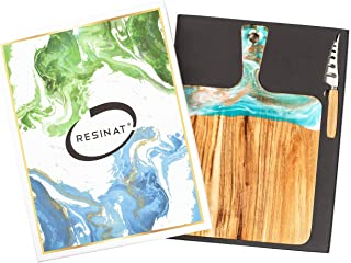 Ocean Epoxy Resin decorated Rectangular Large Cutting board with handle, Cheese Board and Knife Set
