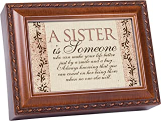 Cottage Garden Sister Is Someone Woodgrain Music Box/Jewelry Box Plays Wind Beneath Wings