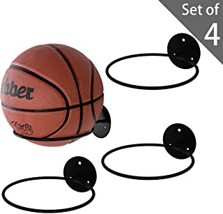 MyGift Set of 4 Black Metal Wall-Mounted Sports Ball Holder Display Rack