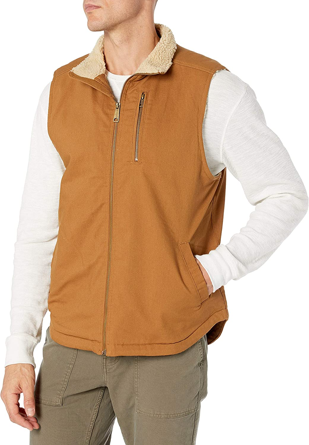 Wells Lamont Men's Sherpa Lined Canvas Vest with Zip Utility Pocket