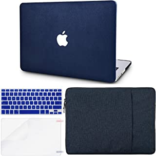 """KECC Laptop Case for MacBook Pro 13"""" (2020/2019/2018/2017/2016, Touch Bar) w/Keyboard Cover + Sleeve + Screen Protector (4 in 1 Bundle) Italian Leather A2159/A1989/A1706/A1708 (Dark Blue Leather)"""