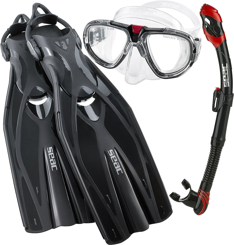 SEAC Pro Dive Mask Fin Snorkel Set, Black, Large XLarge