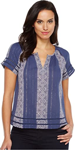 Lurex Peasant Top