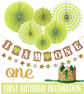 GREEN FIRST BIRTHDAY DECORATION SET FOR GIRL or Boy 1st Baby GIRL Boy Birthday Party, Wild One Birthday, Gold Cake Topper