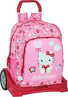 Mochila Escolar con Carro Evolution Incluido de Hello Kitty Balloon, 310x140x410mm