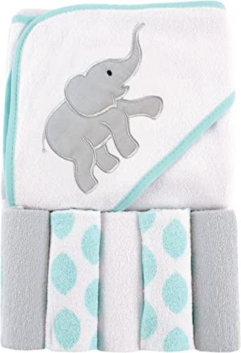 Luvable Friends Unisex Baby Hooded Towel with Five Washcloths, Ikat Elephant, One Size