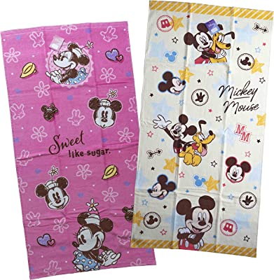 ディズニー ミッキー マウス キャラクター バスタオル 2枚 セット 綿100% (Dセット)
