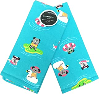 Cynthia Rowley Summertime Dogs on Pool Floats Set of Two Novelty Decorative Plush Kitchen Guest Hand Towels 18