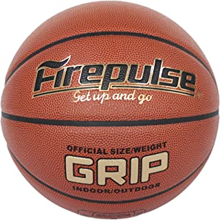 FIREPULSE Grip Basketball/Official Size 7(29.5'')/Indoor&Outdoor Composite Leather Game Basketballs with Free Air Pump,Needles,Basketball Carry Bag