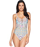 Rosey Tile Sweetheart Lace-Up One-Piece