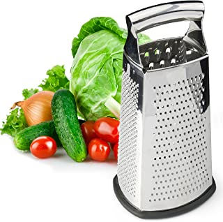 Spring Chef Box Grater, 4-Sided Stainless Steel Large 10-inch Grater for Parmesan Cheese,..