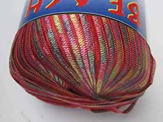 Beach by Filati FF Shimmering Ribbon Yarn #4011 Red Pink Yellow Mint