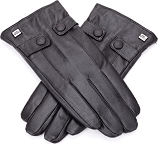Luxury Dress Napa Leather Winter Gloves for Men - Texting - Touchscreen – Cold Weather - Driving – Waterproof - Fleece Liner