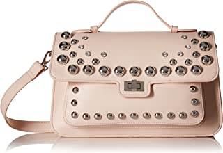 Mary NONLEATHER FRONTFLAP Silver Studded Satchel Handbag