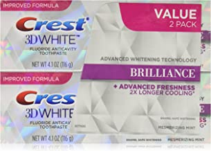Crest 3D 4.1 Ounce Twin White Brilliance Mesmerizing Mint Toothpaste (Pack of 6)