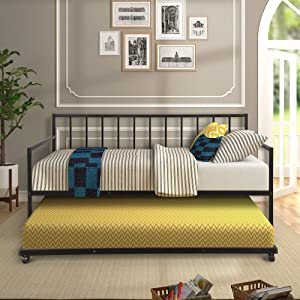 Kteam Twin Daybed with Trundle Multifunctional Metal Lounge Daybed Frame for Living Room Guest Room Twin Sofa Bed (Black)