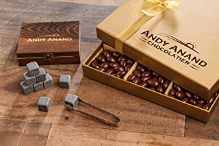 Andy Anand's Chocolate covered Almond 1 lbs, & Whiskey Stones in Deluxe Wooden Box , for Birthday, Valentine Day, Gourmet Christmas Holiday Food Gifts, Thanksgiving,Halloween, Mothers day, Fathers Day