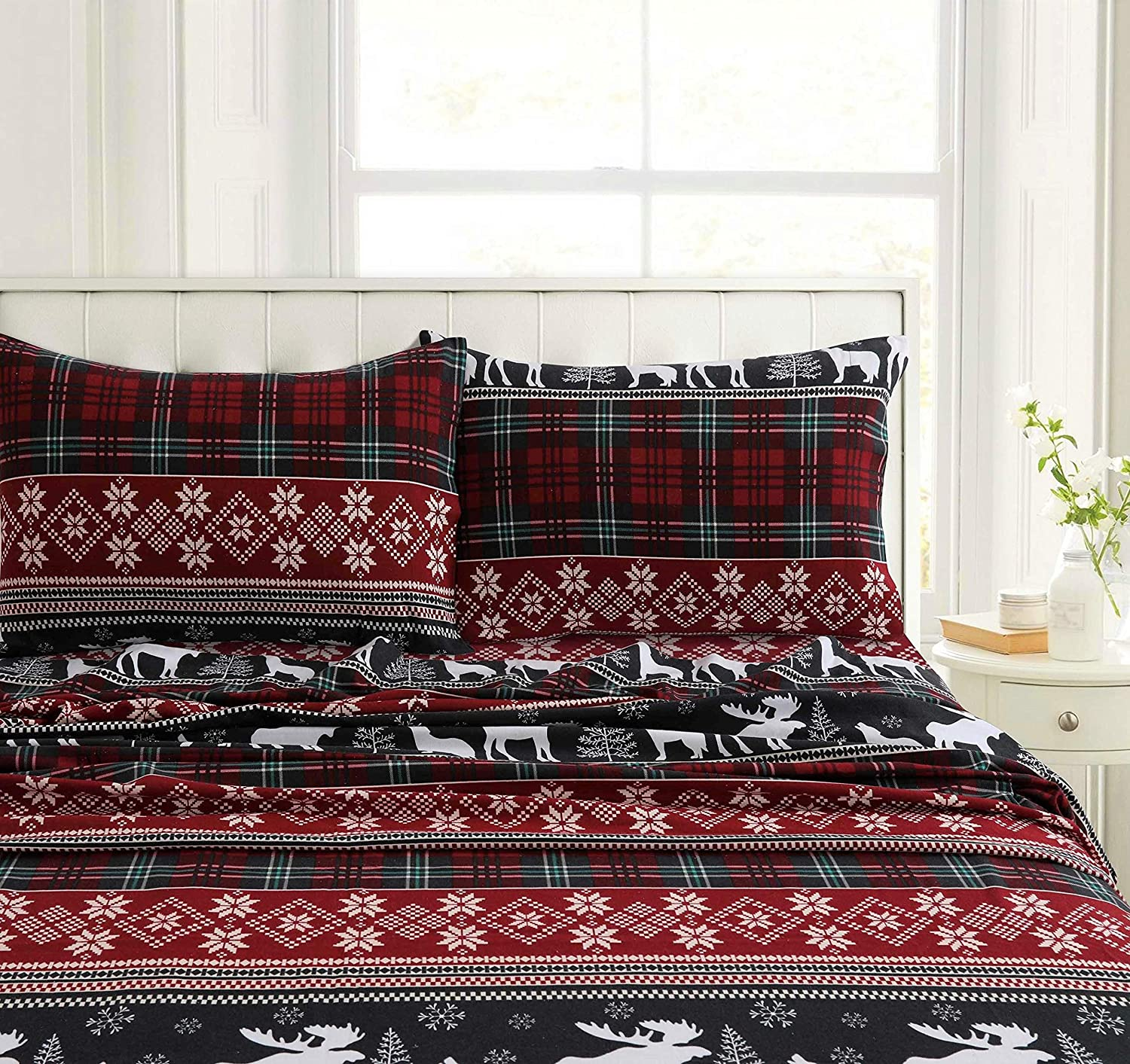 Tribeca Living HOLPLAIDSHCK Deep Pocket Sheet Set Cal King Holiday Plaid