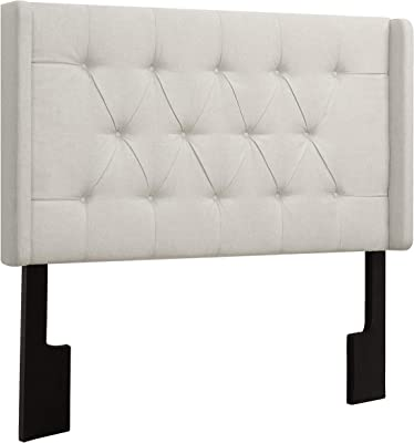 Right2Home Shelter Button Tufted California King Headboard Adjustable, White Linen