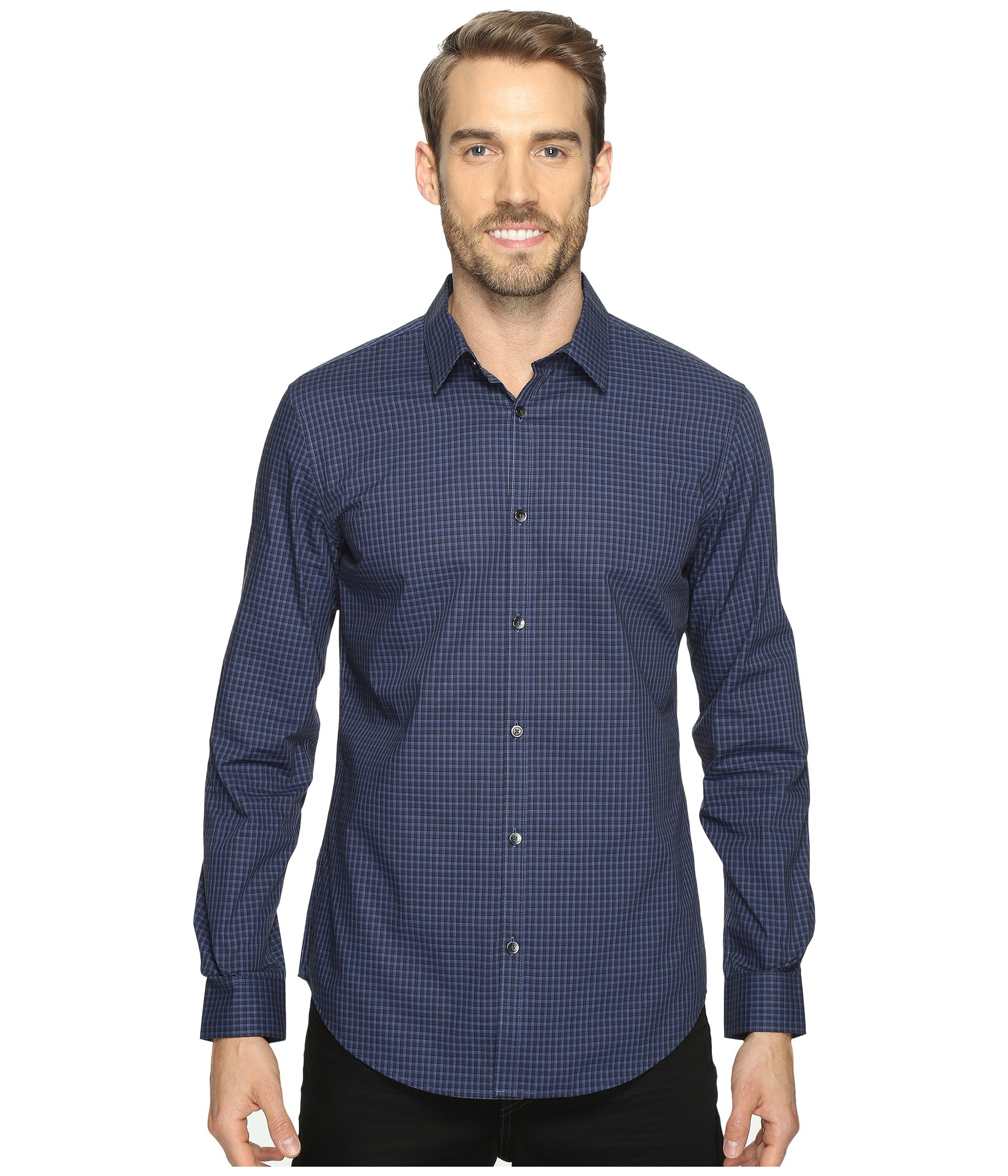 Fit Down Button Infinite Long Blue Shirt Calvin Slim Sleeve Klein Cool Check Knight 1qCFnBxaw
