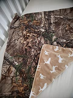Baby RealTree Camouflage Travel blanket,Tan deer silhouette minky,Super soft Fleece camo and minky,double sided,reversible,deer hunting camo,gender neutral baby gift,swaddling,receiving
