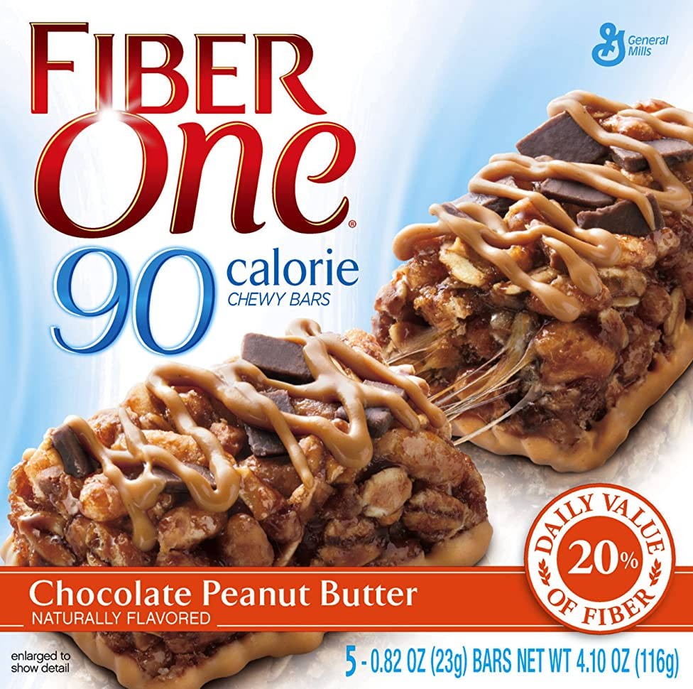 Fiber One 90 Calorie Chocolate Peanut Butter, 5-Count Bars (Pack of 2)