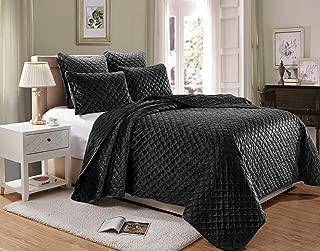 Chezmoi Collection Nina 3-Piece Modern Diamond Pattern Premium Heavy Velvet Quilt Set (King, Black)