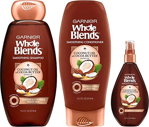 Garnier Hair Care Whole Blends Smoothing Coconut Oil and Cocoa Butter Extracts Shampoo, Conditioner, and Smoothing Oi...