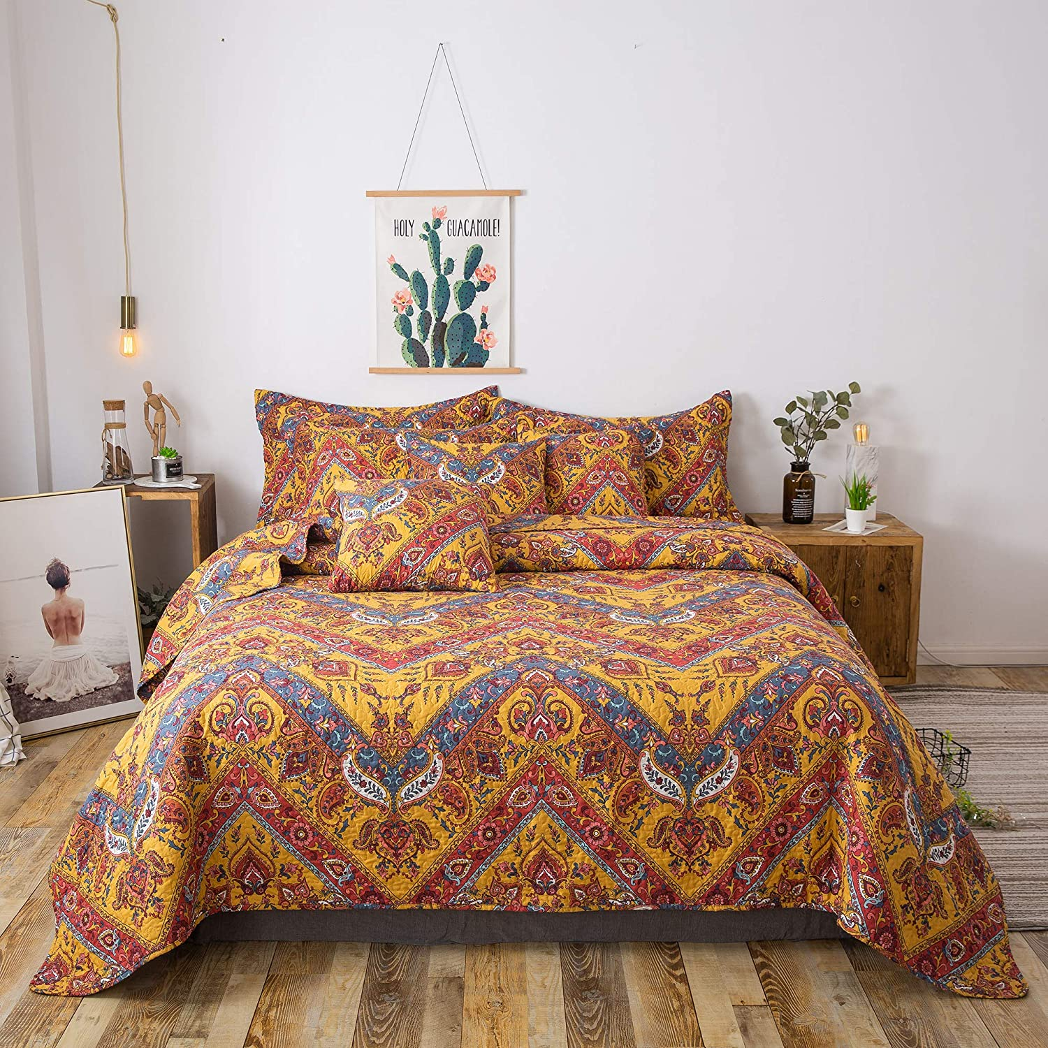 Tache 3 Piece Hanging Gardens Yellow orange Chevron Bohemian Quilted Bedspread Coverlet Quilt Set, Full