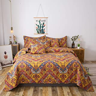 Tache 3 Piece Hanging Gardens Orange Yellow Chevron Zigzag Bohemian Bedspread Quilt Coverlet Set, California King