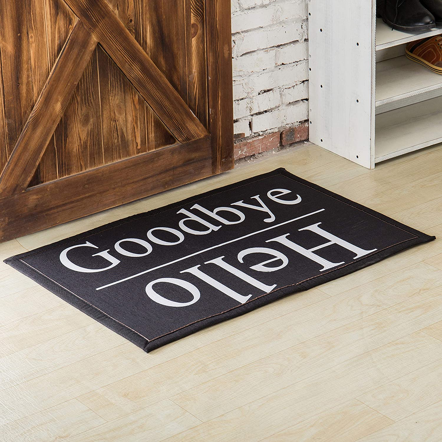2 x 3 ft Front Entrance Hello Goodbye Polyester Non-Slip Doormat, Housewarming Gift Welcome Mat