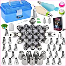 RFAQK- 90 Pcs Russian piping tips set with storage case - Cake decorating supplies kit - 54 Numbered easy to use icing noz...
