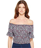 U.S. POLO ASSN. - Rayon Challis Off the Shoulder Crop Top