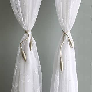 Valea Home 2 Pieces Curtain Tiebacks Clips Creative Window Drape Twist Tie Backs European Style Custom Made Curtain Holders Decorative Draperies Holdbacks, Beige
