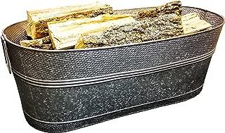 Massive 80-Quart Hammered Galvanized Beverage Tub & Multi-functional Firewood Holder Rack