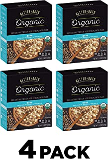 Better Oats Organic Instant Hot Oatmeal Packets With Flax, Bare Flavor, 11.8 Ounce Box (Pack Of 4)