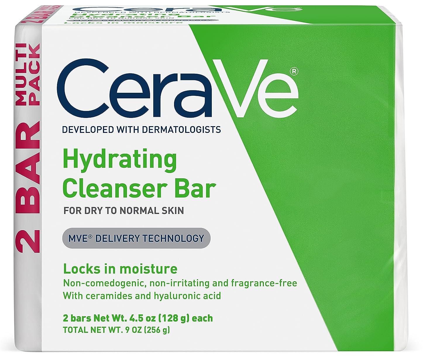 癒す本質的に共感するセラヴィ ハイドレイティングクレンジングバー ノーマル?ドライスキン用 2パック CeraVe Hydrating Cleansing Bar for Normal to Dry Skin - 4.5oz - 2ct