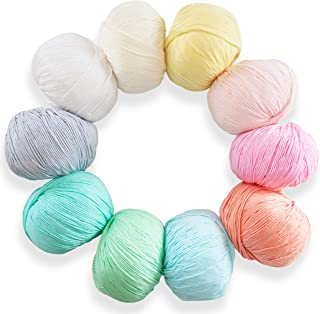 Studio Sam Pure Cotton Yarn Set for Knitting and Crochet. Pack of 10 Skeins, Total 1850 Yards. Great for Baby Blankets and Clothes. Pastel Dreams Collection.